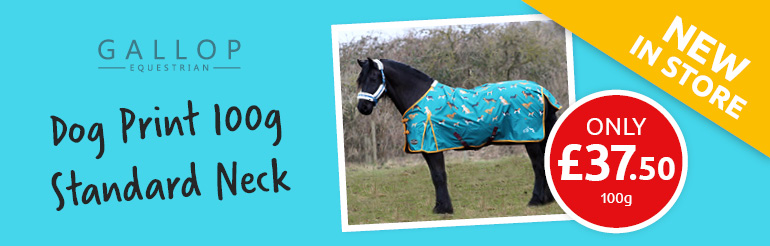 Great Value Gallop 100g Standard Neck Dog Print Turnout Rug Now in Stock!