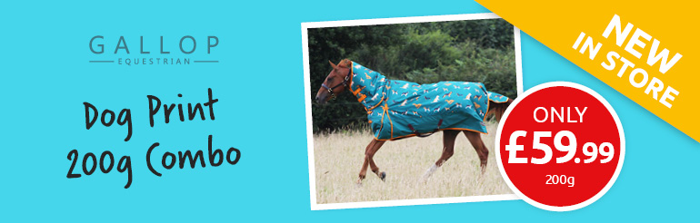 New Gallop Dog Print 200g Combo Turnout Rug - Only £59.99