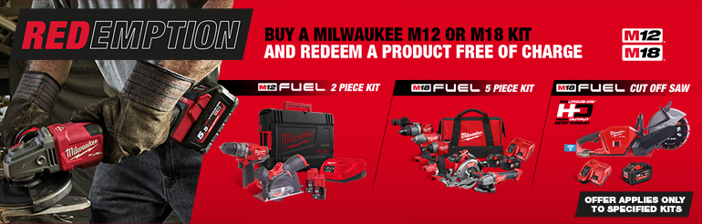 Buy selected Milwaukee kits and claim free Milwaukee Products during MILWAUKEE REDEMTPION